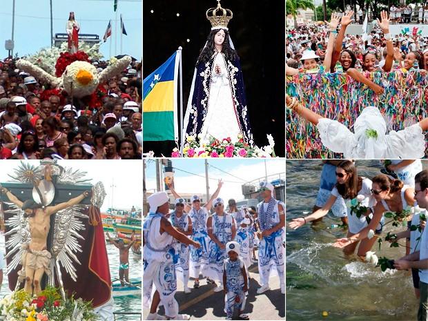 Santa Bárbara, Nossa Senhora da Conceição da Praia, Senhor do Bonfim, Bom Jesus dos Navegantes, Carnaval e Iemanjá estão no calendário das festas populares da Bahia (Foto: Arte/G1)