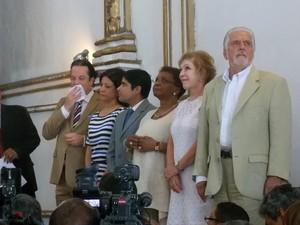 Presidente do Iphan, Jurema Machado, prefeito ACM Neto, ministra Marta Suplicy e governador Jaques Wagner estiveram presentes (Foto: Ruan Melo/ G1)