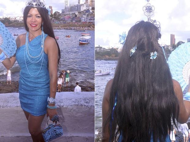 Há três anos que Rose se fantasia de Iemanjá na Bahia (Foto: Joilson César / Ag Haack)