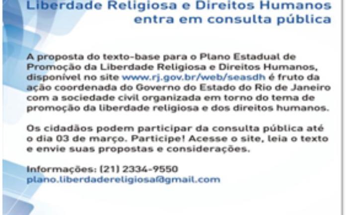 Consulta Pública o Plano Estadual de Promoção da Liberdade Religiosa e Direitos Humanos – RJ