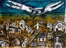 A gravura Paisagem de Olinda, de Maria Carmem, integra a mostra do Museu da Abolição