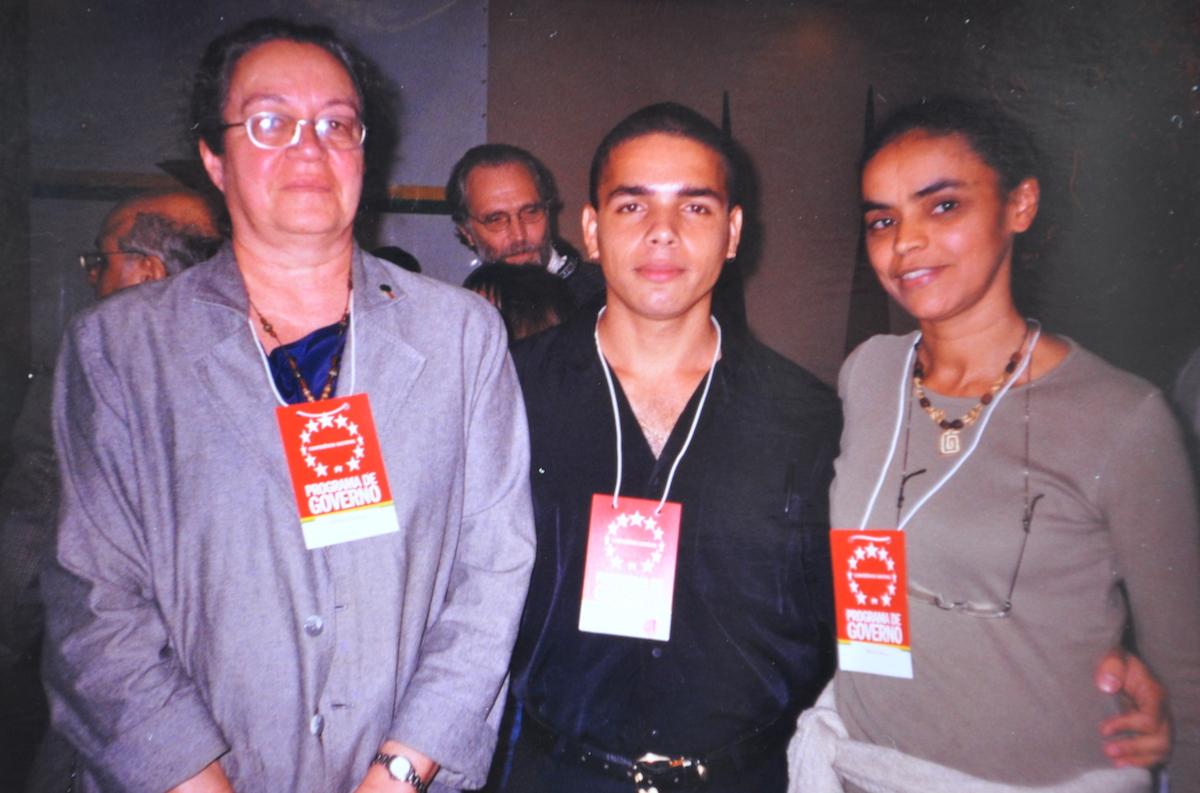 Em 2004, com Maristela Bernardo e Marina Silva em evento do PT em São Paulo