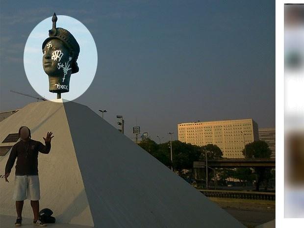 Suspeito posa ao lado da estátua de Zumbi pichada (Foto: Reprodução / Facebook)