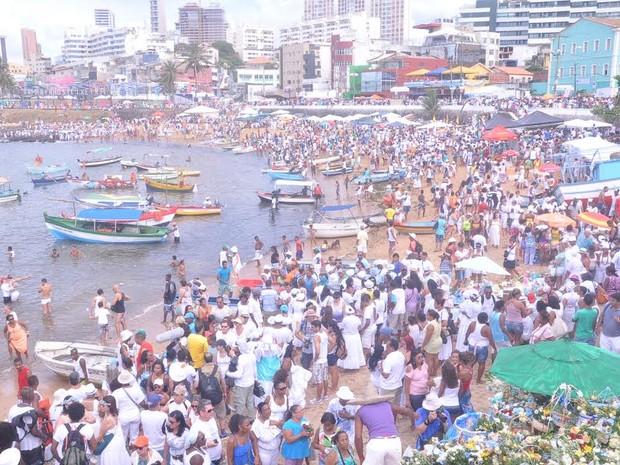 Festa de Iemanjá no bairro do Rio Vermelho, em Salvador (Foto: Joilson César / Ag Haack)