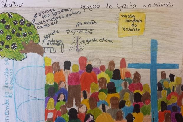 Festa - Ilustração de uma criança retrata Congado em livro sobre irmandade