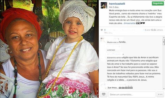 Henri Castelli fotografa a filha vestida de mãe de santo e ex reclama. (Foto: Reprodução/Instagram)