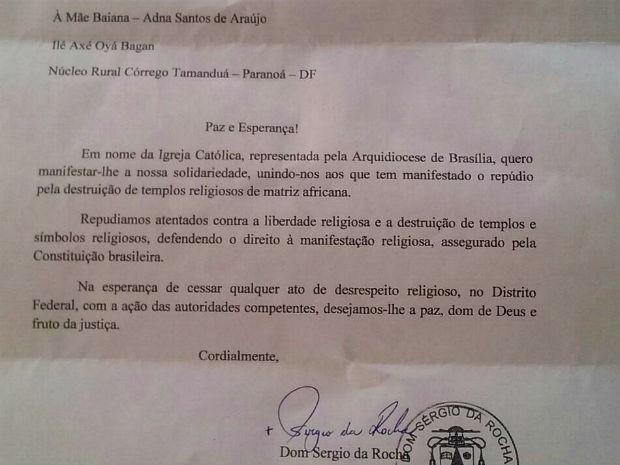 Carta enviada por arcebispo de Brasília, dom Sérgio da Rocha, a Mãe Baiana (Foto: Reprodução)