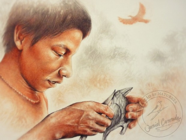 Imagem do livro A Arte Guarani-Mbya de Guaraqueçaba, Aldeia Kuaray Guata Porá, de Daniel Conrade