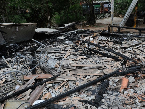 Ruínas de terreiro de candomblé incendiado no Paranoá, no DF, em novembro (Foto: Toninho Tavares/GDF)