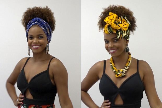A atriz Jennifer Nascimento ensina em passo a passo como usar lenços, faixas, fitas e turbantes para deixar os cabelos afro sempre arrumados e estilosos (Foto: Jessica Monstans / EGO)