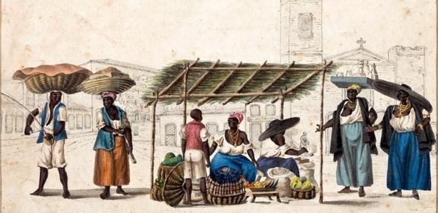 Henry Chamberlain/Reprodução Quitandeiras da Lapa (1819-1820, Rio de Janeiro)