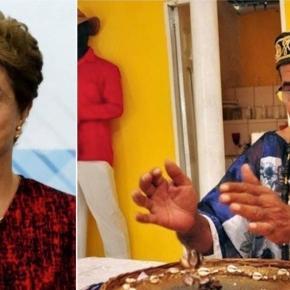 Dilma Rousseff e pai de santo - Foto/Montagem