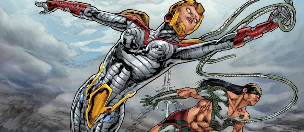 Aruã e Jiboia Branca, heróis do Esquadrão Amazônia, de Joe Bennett e Alan Yango, que será lançado em dezembro no Comic Con Experience - Agência O GLOBO / Reprodução