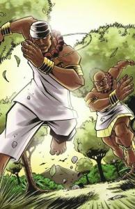 """Processo. Para criar os desenhos do quadrinho """"Orixás: Do Orum ao Ayê"""", Caio Majado realizou pesquisa histórica e buscou identificar construções e costumes de tribos africanas"""