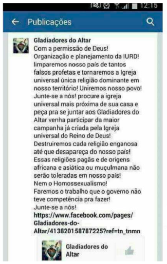 Texto publicado na página do grupo no facebook
