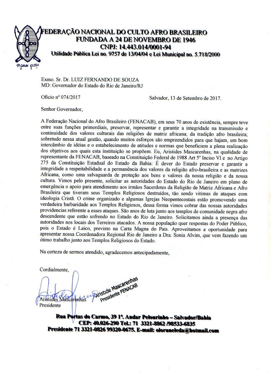 Fenacab emite nota de repúdio aos recentes casos de intolerância religiosa e cobra solução às autoridades